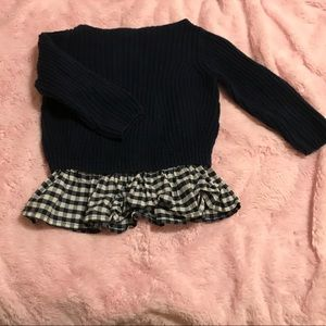 Crewcuts 2t navy heavy sweater w gingham trim